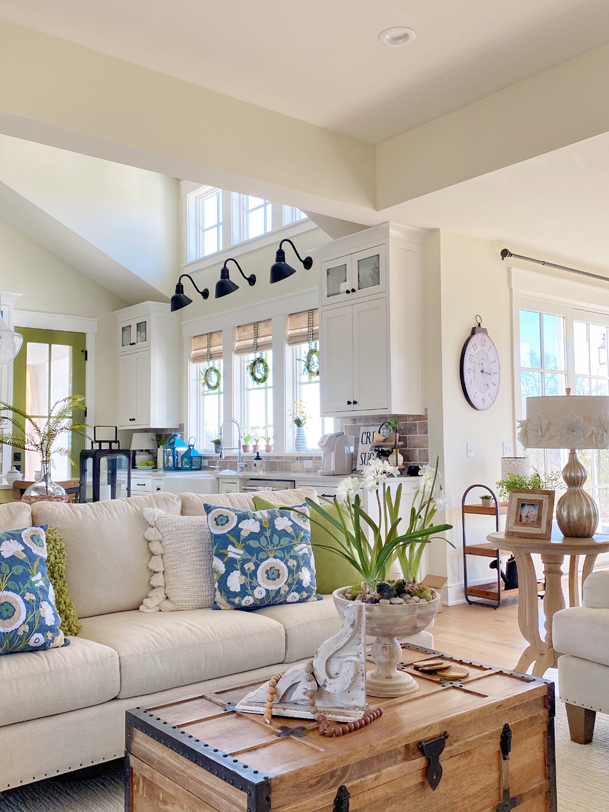 Spring Decor Ideas - Blues and Greens Spring Living Room by Plaids & Poppies