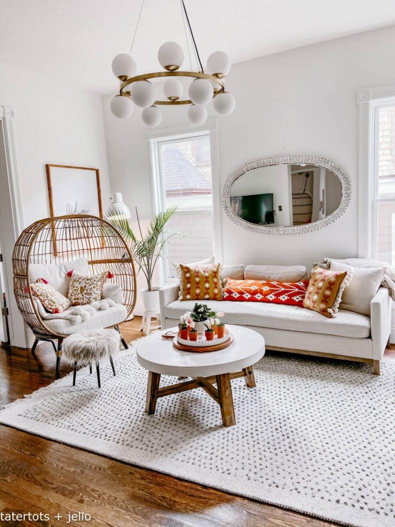 Spring Decor Ideas - Boho Cottage Spring Living Room by Tatertots & Jello