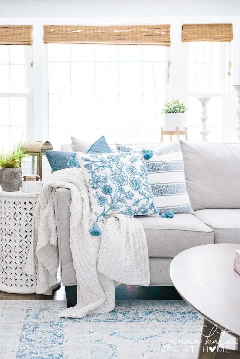 Spring Decor Ideas - Feminine Spring Living Room by Jenna Kate at Home
