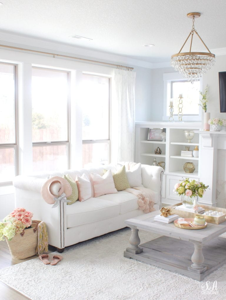 Spring Decor Ideas - Pink and Green Spring Living Room by Summer Adams