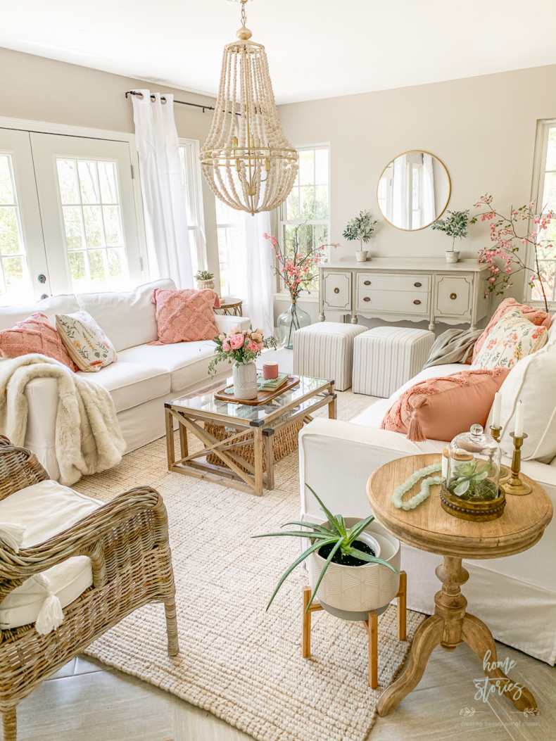 Spring Decor Ideas - Spring Cottagecore Living Room by Home Stories A to Z