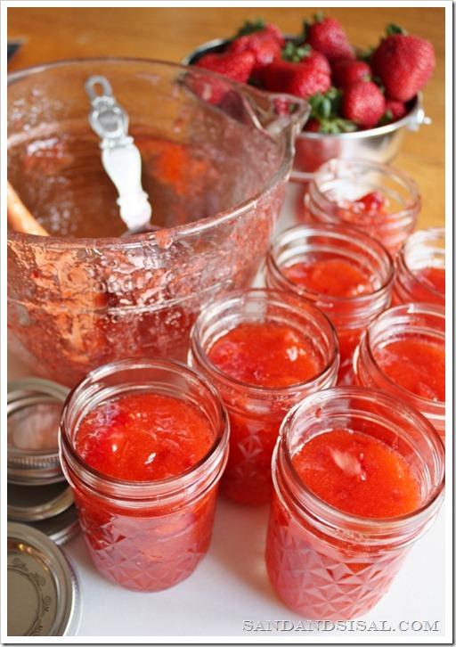 Strawberry Recipes - Strawberry Freezer Jam by Sand & Sisal