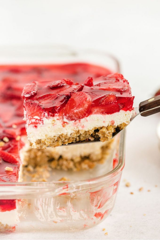 Strawberry Recipes - Strawberry Pretzel Salad by Spaceships and Laser Beams