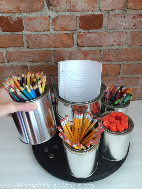 Teacher Gift Ideas - DIY Lazy Susan Pencil Caddy by Home Stories A to Z