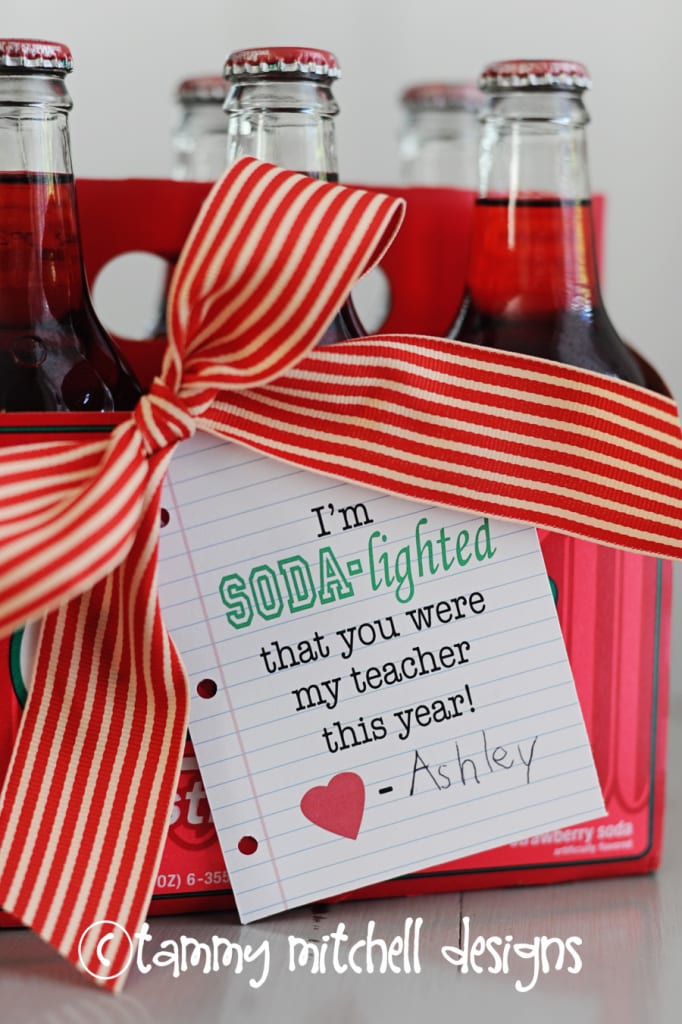 Teacher Gift Ideas - Sodalighted Free Printable by Pink Peppermint Designs