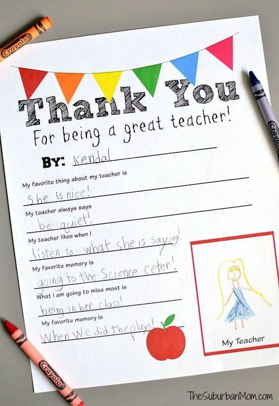 Teacher Gift Ideas - Thank You Free Printable by The Suburban Mom