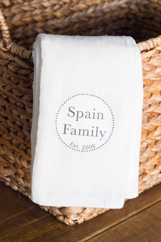 DIY Wedding Gifts - DIY Personlized Tea Towels by Erin Spain