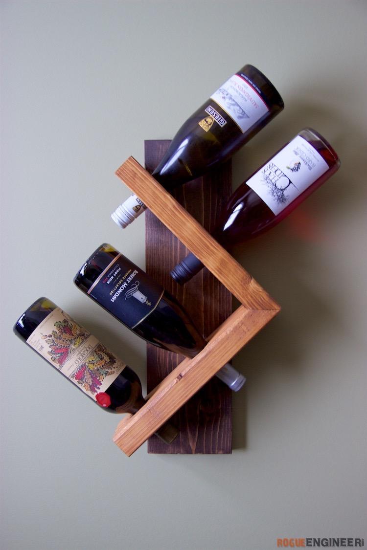DIY Wedding Gifts - DIY Wall Wine Holder by The Rogue Engineer