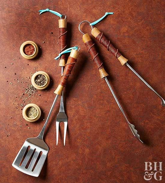 DIY Wedding Gifts - Leather Wrapped Grilling Utensils by BHG