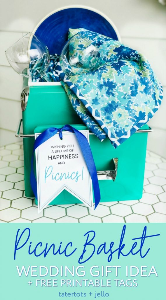 DIY Wedding Gifts - Picnic Basket Wedding Gift by Tatertots + Jello