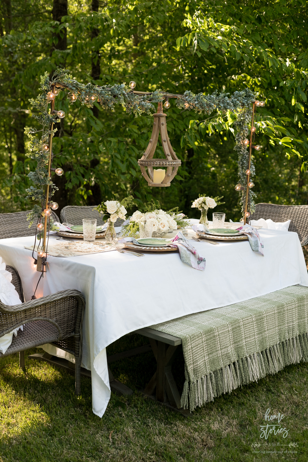 green white outdoor table setting
