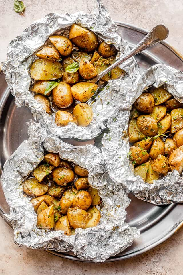 Grilled Vegetable Recipes - Grilled Basil Potatoes by Diethood