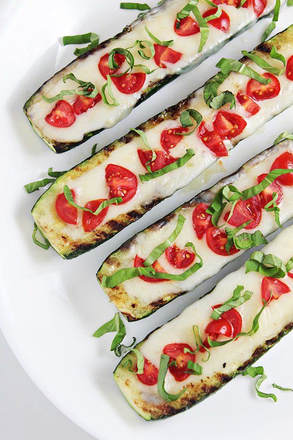 Grilled Vegetable Recipes - Grilled Caprese Zucchini Boats by Homecooking Memories