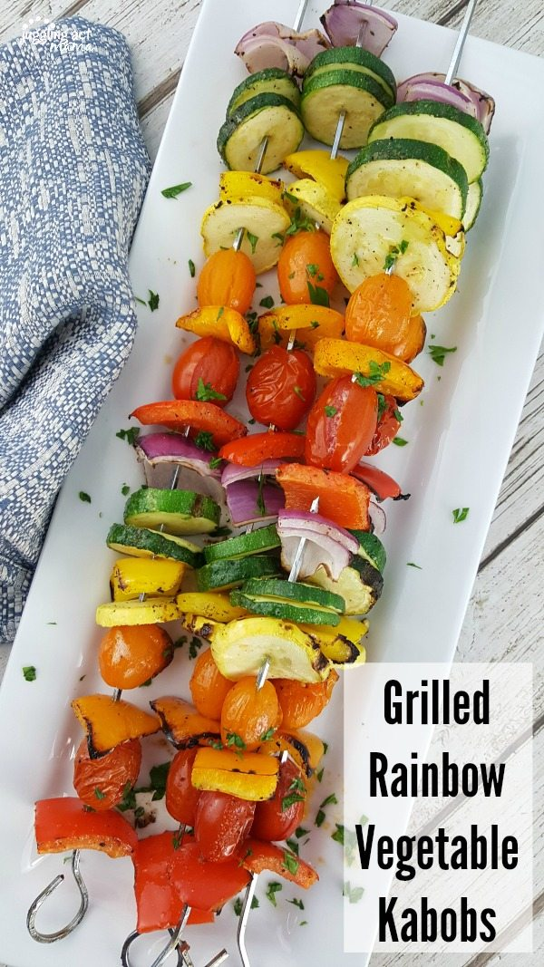 Grilled Vegetable Recipes - Grilled Rainbow Vegetable Kabobs by Juggling Act Mama