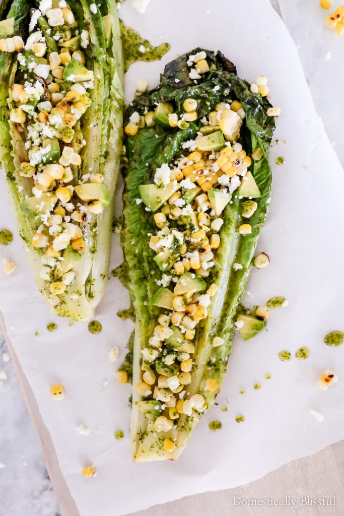Grilled Vegetable Recipes - Grilled Romaine Mexican Salad by Domestically Blissful
