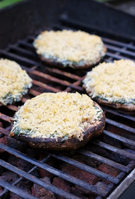 Grilled Vegetable Recipes - Grilled Spinach Dip Stuffed Portabella Mushrooms by The Kitchen is My Playground