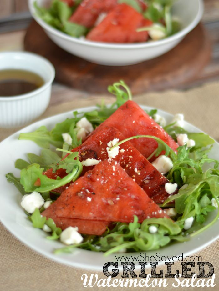 Grilled Vegetable Recipes - Grilled Watermelon Salad by She Saved