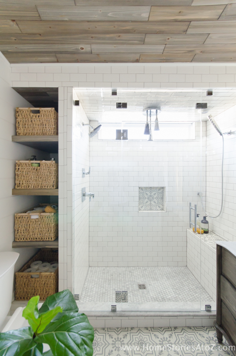 DIY Small Building Projects - Bathroom Shelves Installation by Home Stories A to Z