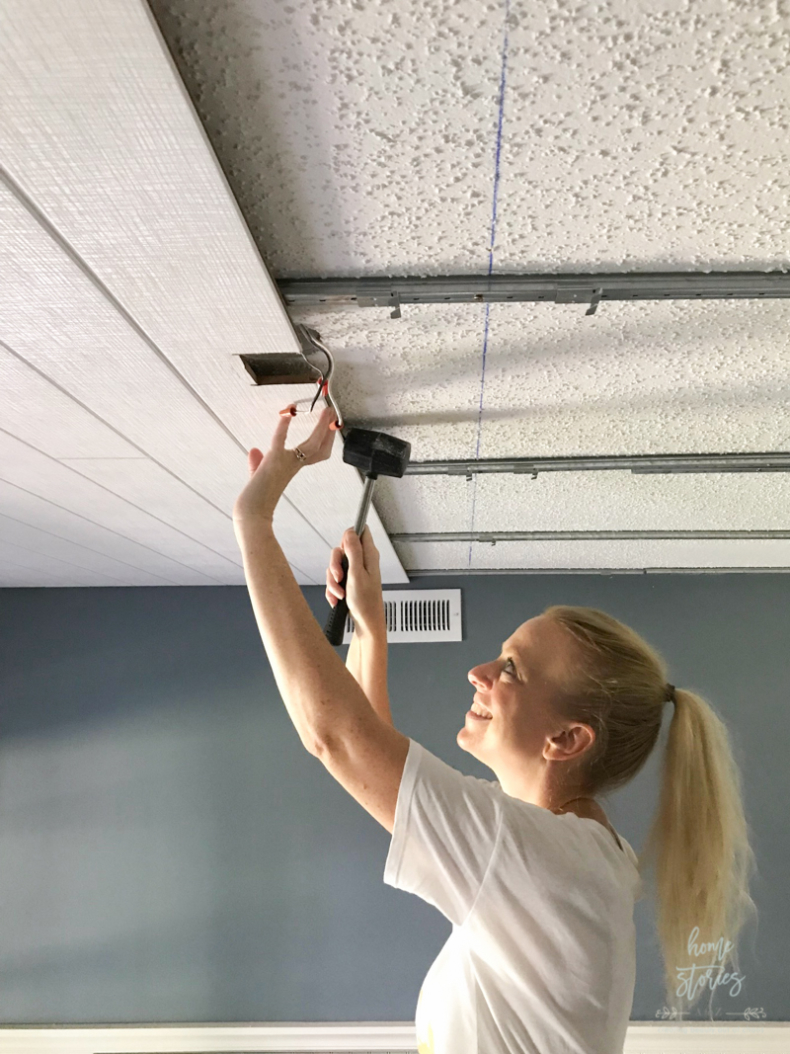 DIY Small Building Projects - Popcorn Ceiling Cover Up by Home Stories A to Z