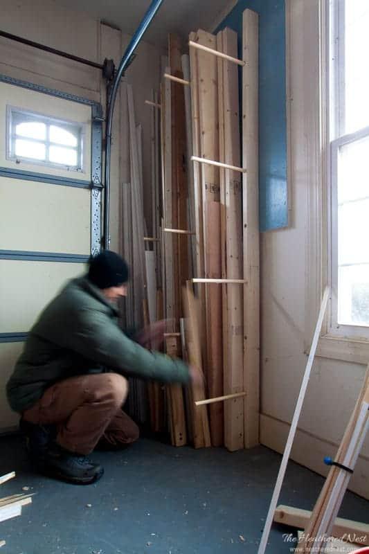 Easy DIY Lumber Storage by Heathered Nest
