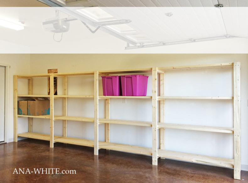 Garage Shelves with 2x4's by Ana White