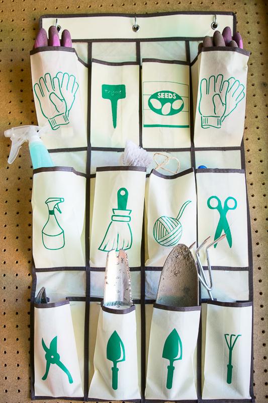 Hanging Garden Tool Organizer - Garage Organization by The Handyman's Daughter