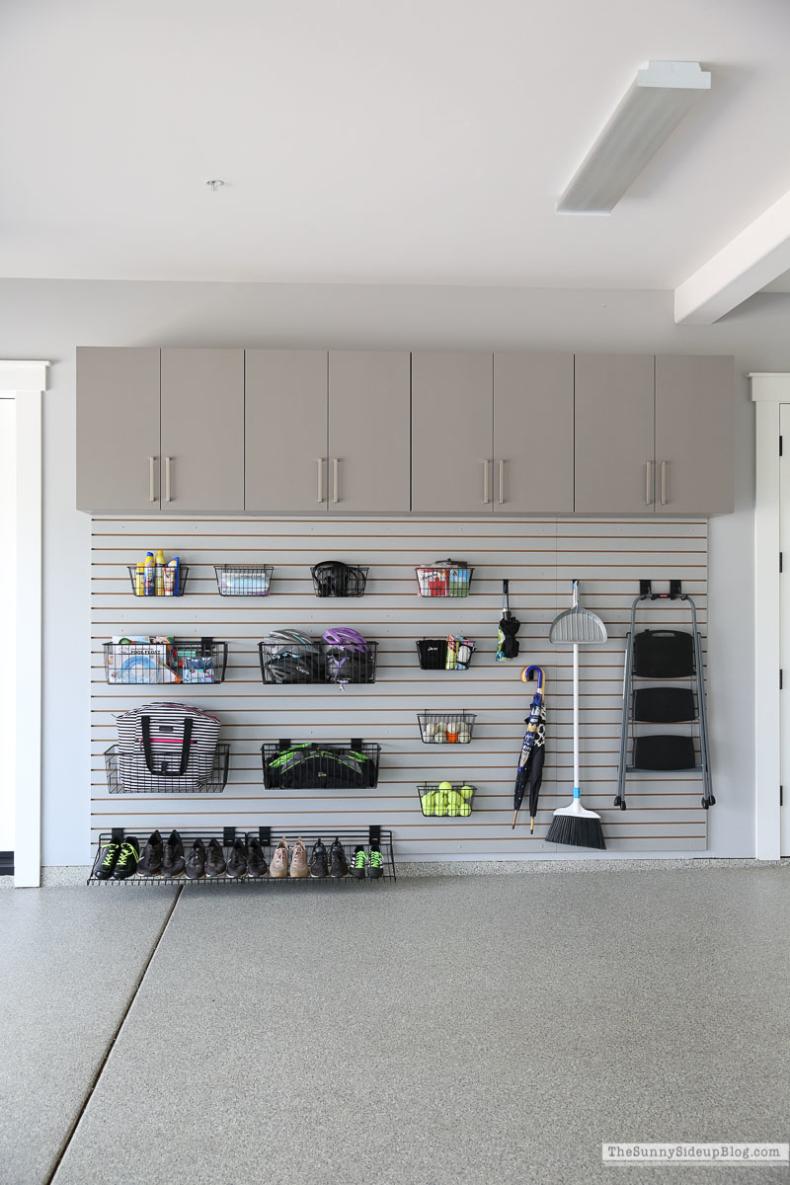 Organized Garage with wall slats by Sunnyside Up Blog