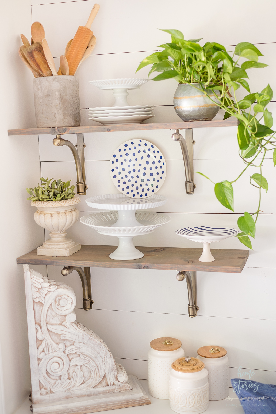 wood open shelves with decor