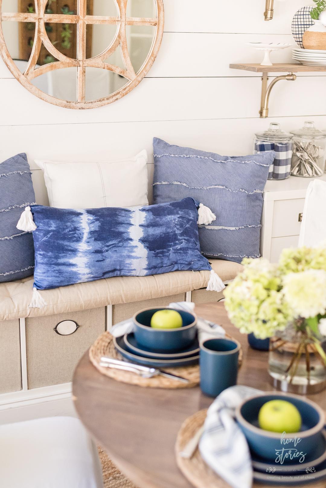 blue white tie dye pillow