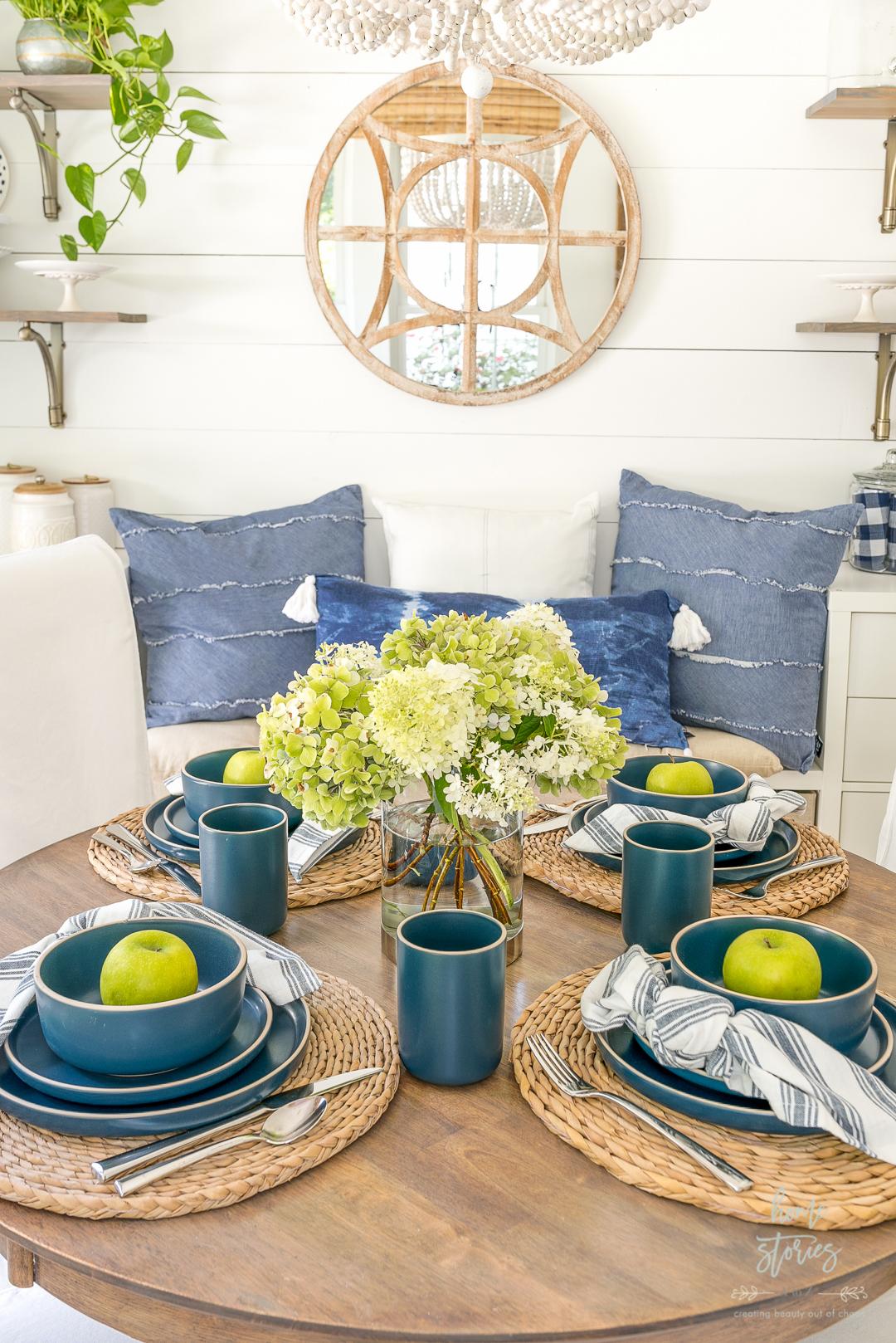breakfast room table setting blue farmhouse dishes