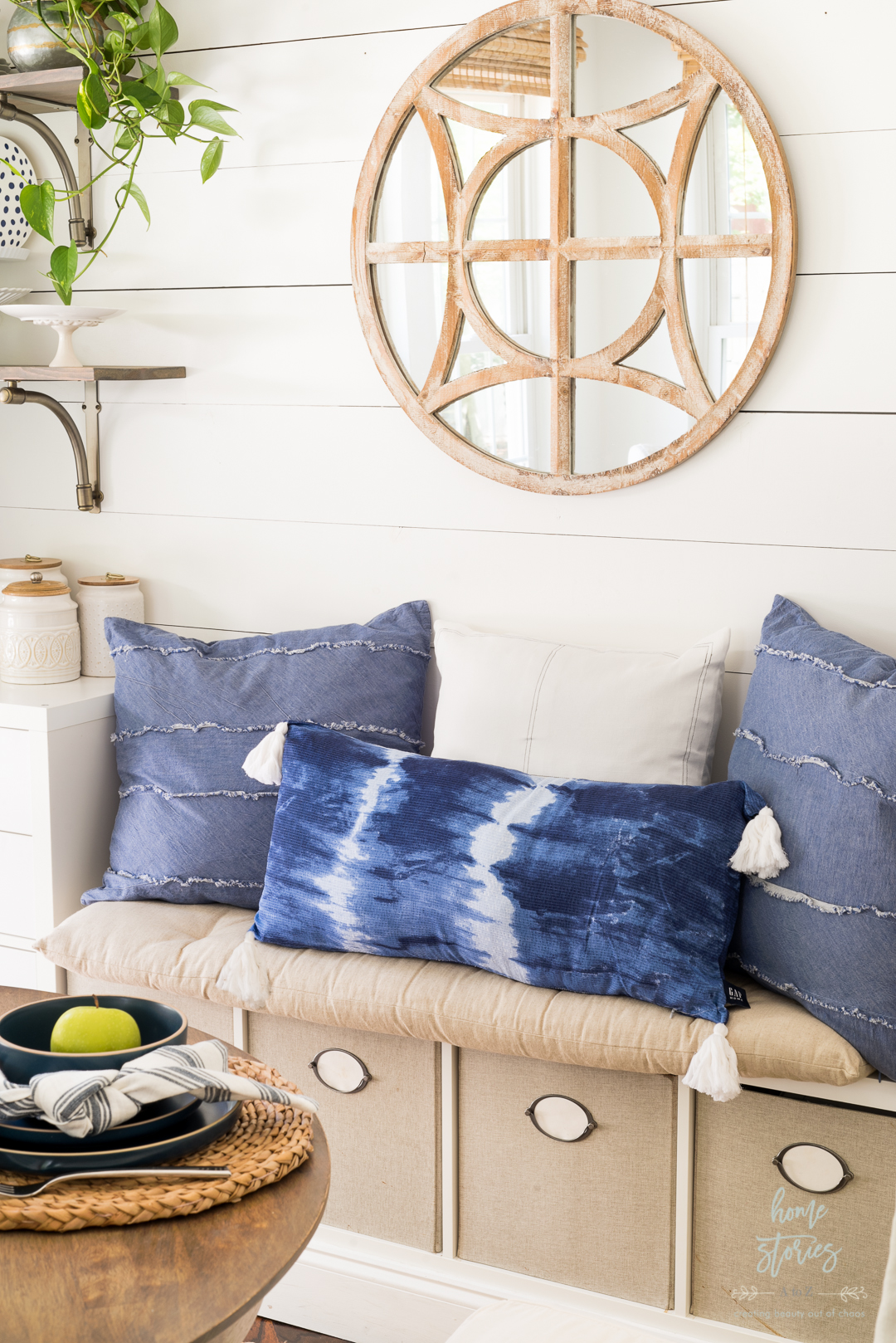 shibori blue white tie dye pillow