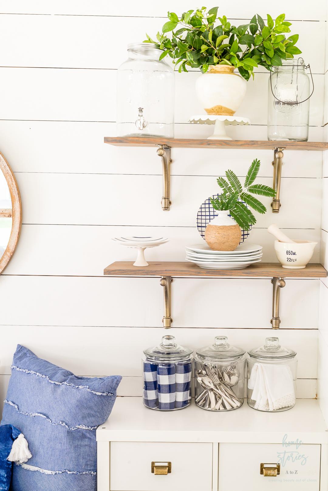 styled kitchen shelves