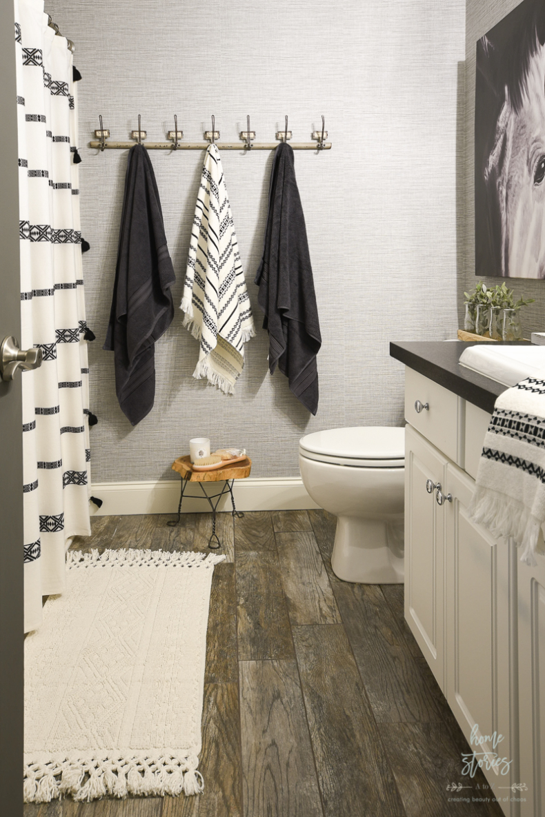 Wallpaper Inspiration - Boho Bathroom Wallpaper Reveal by Home Stories A to Z