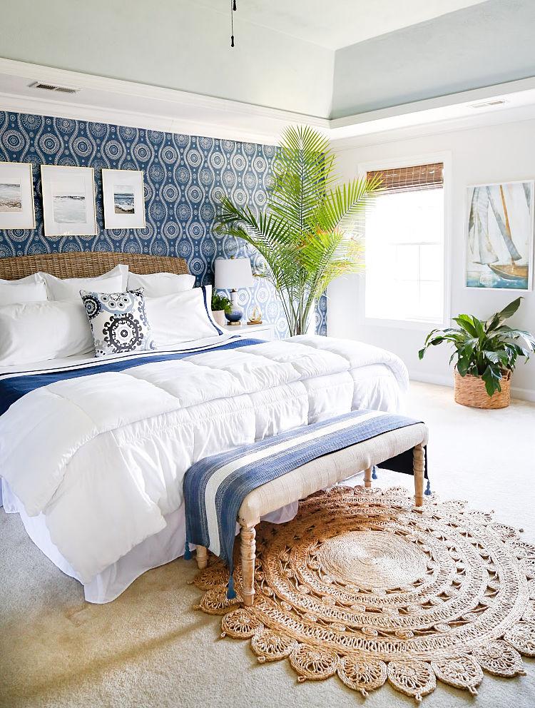Wallpaper Inspiration - Coastal blue master bedroom makeover by Sand & Sisal