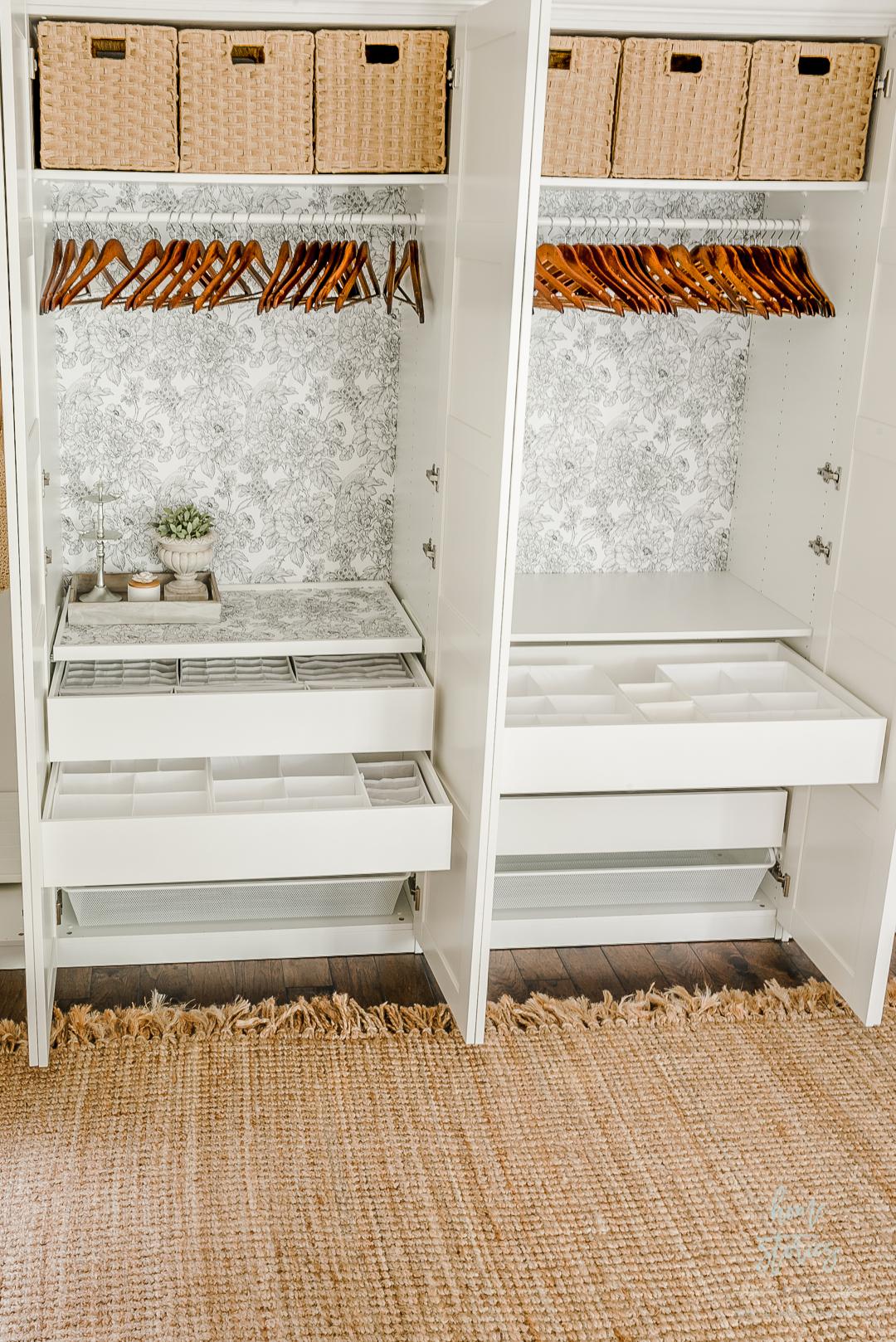 ikea pax drawers styled closet