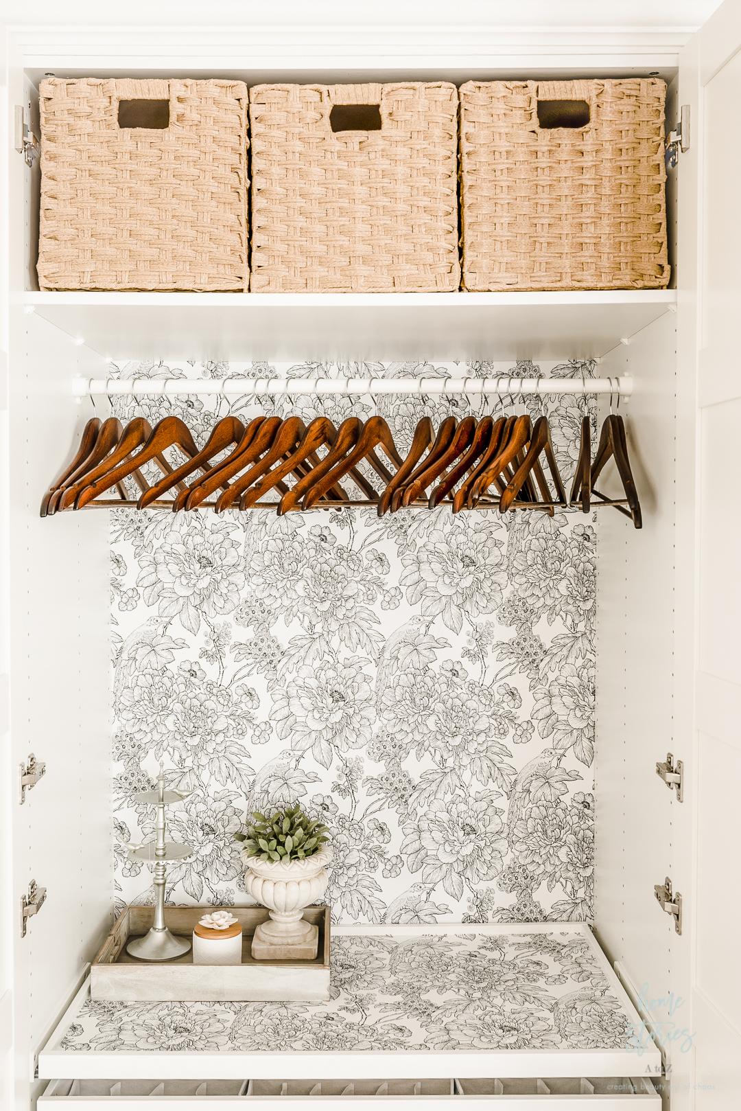 wood hangers styled closet