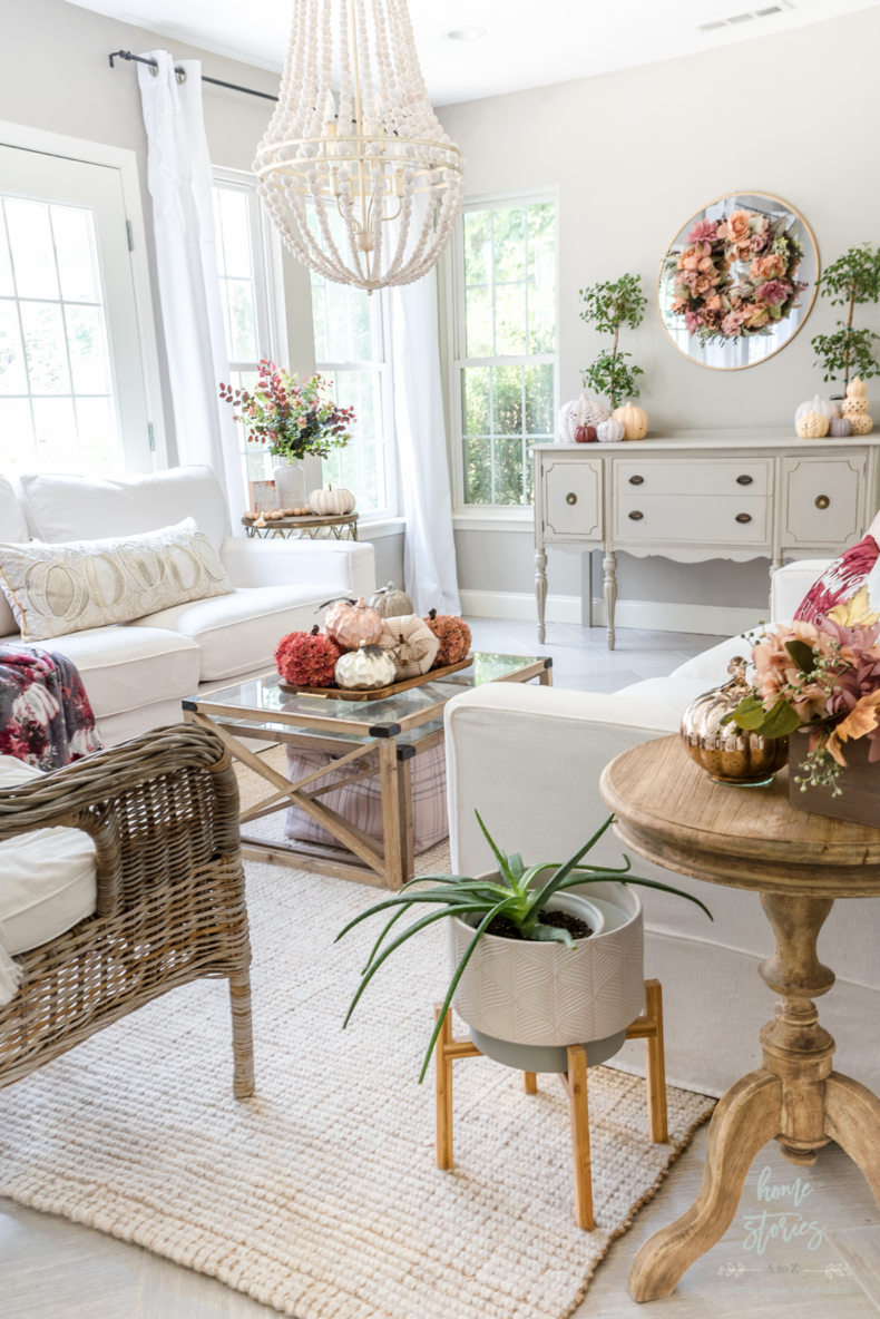 Fall Decor Ideas - Blush and Burgundy Fall Living Room by Home Stories A to Z