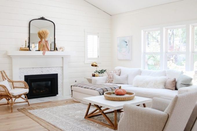 Fall Decor Ideas - Cozy Minimalist Fall Living Room by Modern Glam