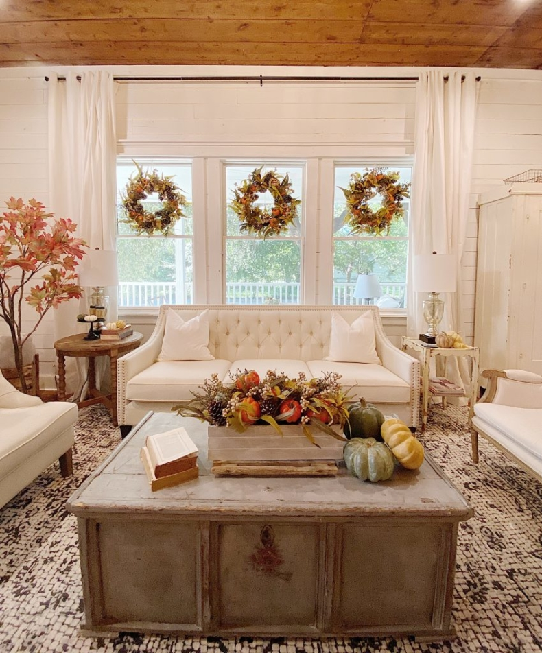 Fall Decor Ideas - Light and Bright Fall Living Room by My 100 Year Old Home