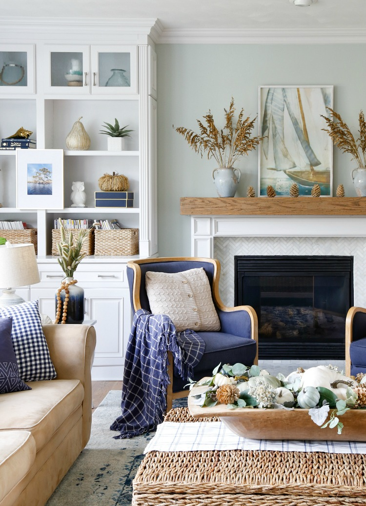 Fall Decor Ideas - Navy and Neutral Fall Living Room by Sand & Sisal