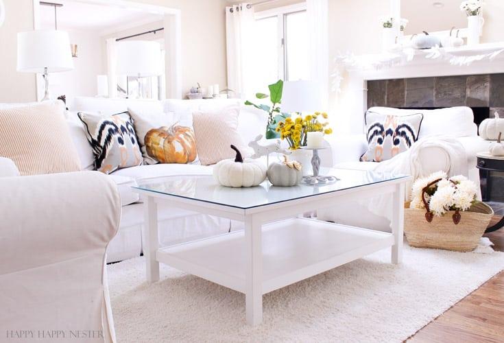 Fall Decor Ideas - Neutral Fall Living Room by Happy Happy Nester