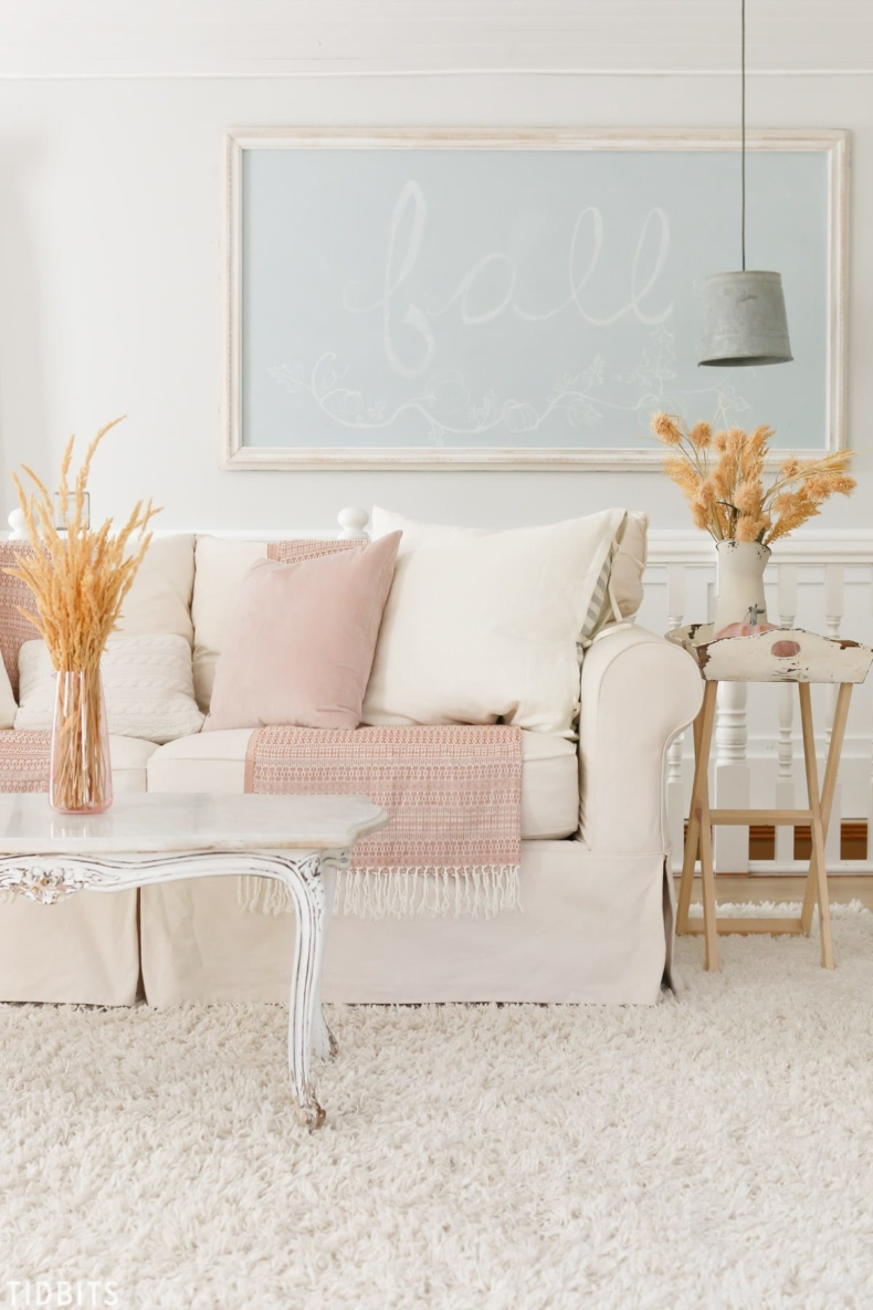 Fall Decor Ideas - Pinks and Neutrals Fall Living Room by Tidbits