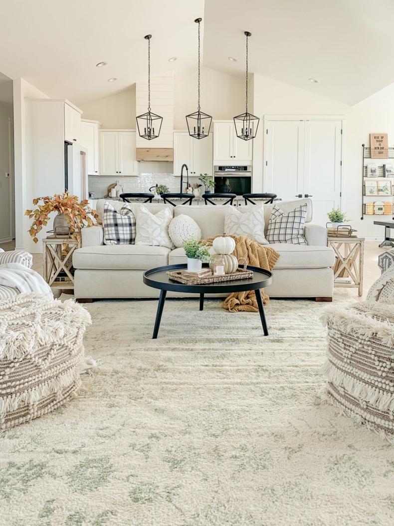 Fall Decor Ideas - Simple Cozy Living Room by Sarah Joy