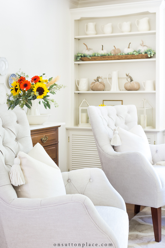 Fall Decor Ideas - Simple Fall Living Room by On Sutton Place