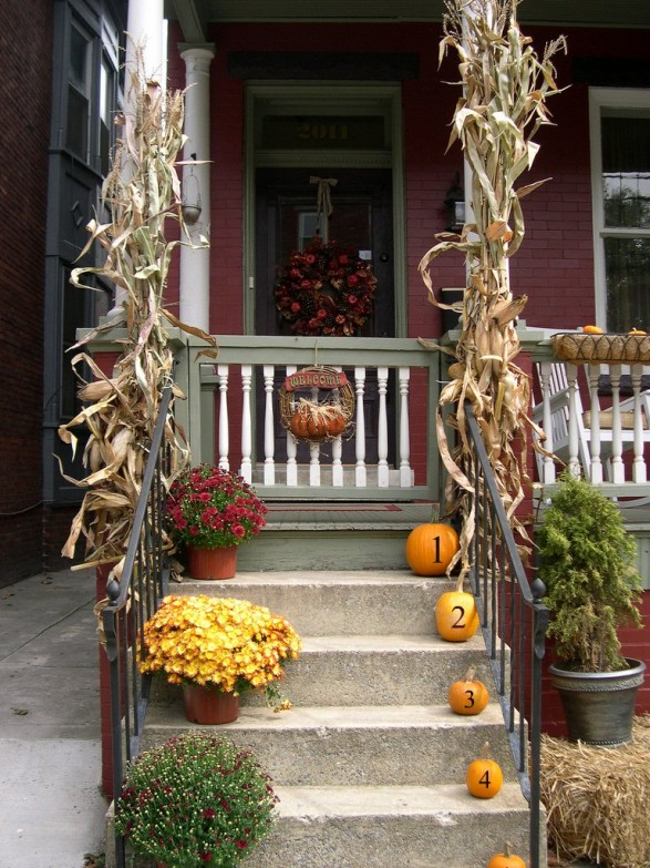 Fall Porch Idea in Traditional Fall Colors by Home Stories A to Z