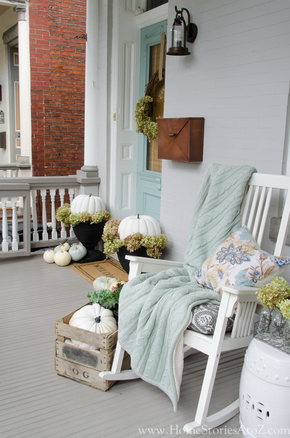 Fall Porch Ideas - Blue Fall Porch by Home Stories A to Z