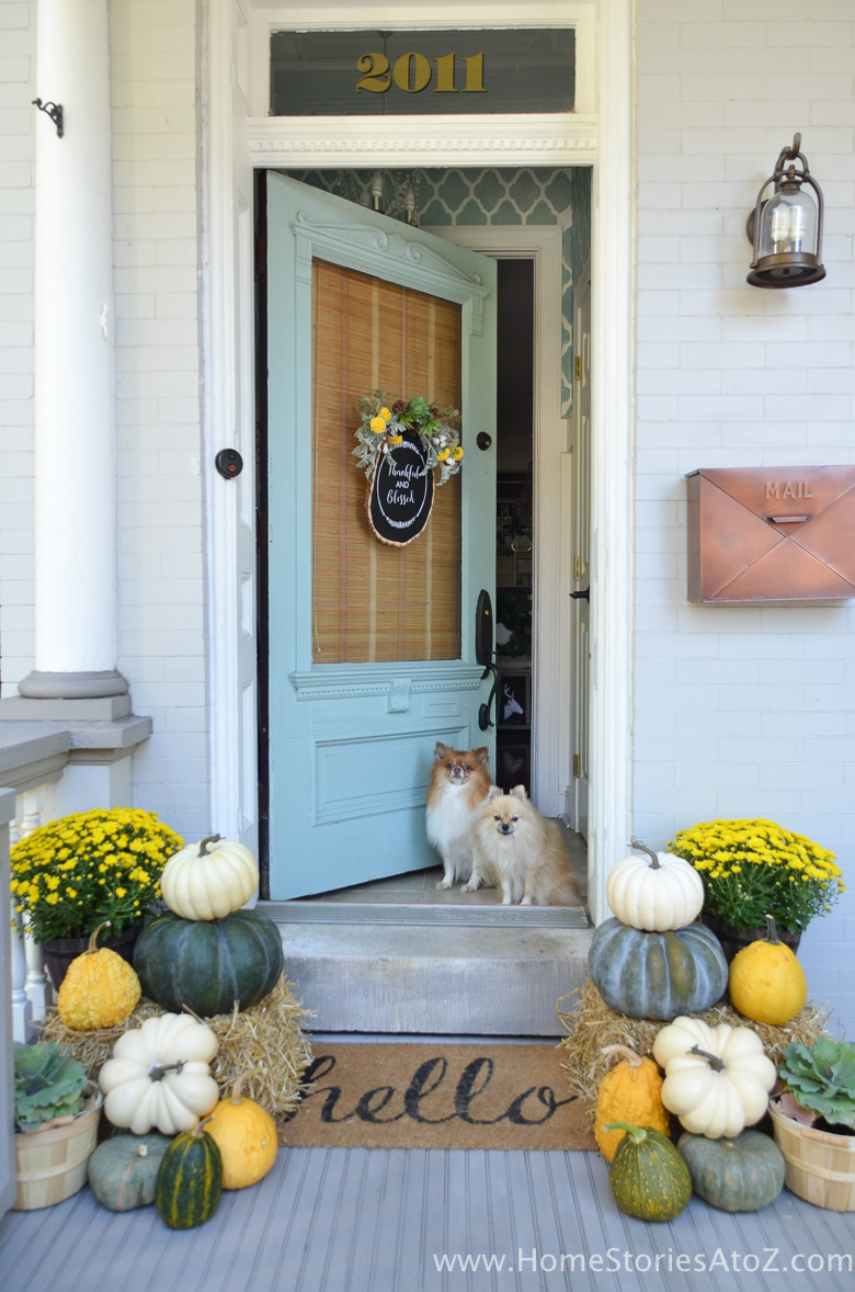 Fall Porch Ideas - Fall Porch Decor in Yellow and Green by Home Stories A to Z