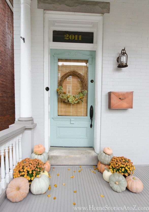 Fall Porch Ideas - Non-Traditional Porch Colors in blues and Pale Oranges by Home Stories A to Z