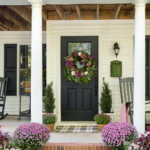 pink purple fall porch mums and decor