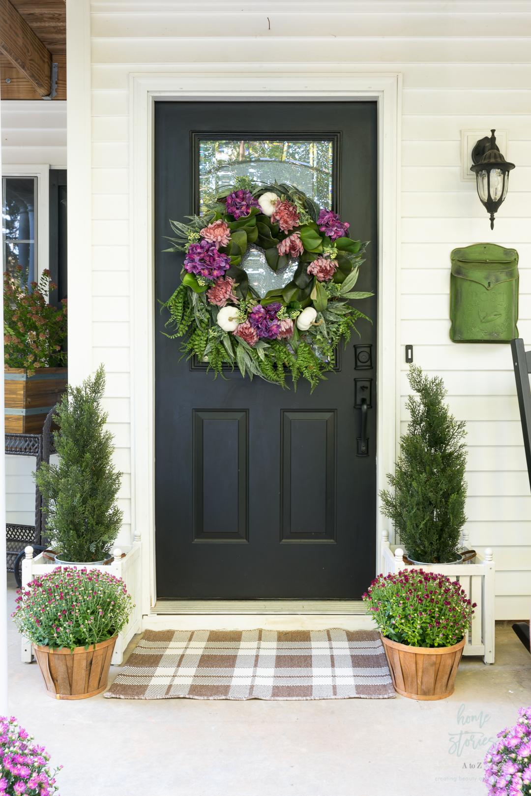 fall wreath purple hydrangeas